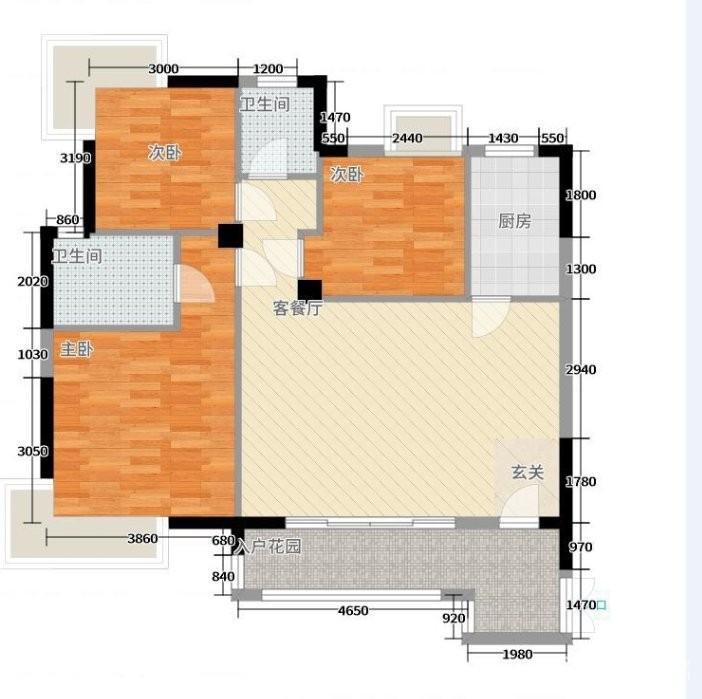 鸿昇现代城 93.15平 大3房 赠送面积15左右
